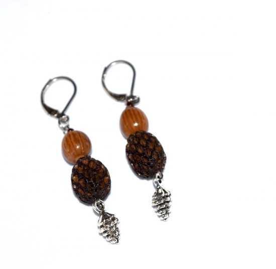 Handmade pinecone earrings, dark and light brown seeds, pinecone charm