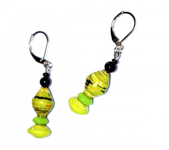 Handmade green earrings with green rolled paper beads, glass rondelle and black beads