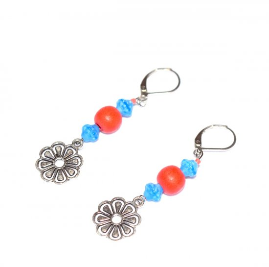 Handmade flower earrings, coral wood beads, blue Czech glass beads, flower charm