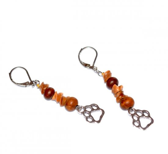 Handmade pawprint earrings, vintage brown wood beads and ceramic twists, pawprint charm