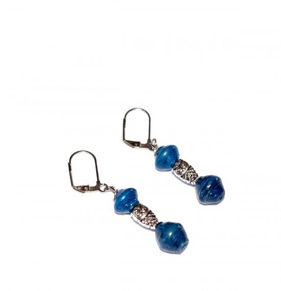 Handmade owl earrings, blue green paper beads, owl bead