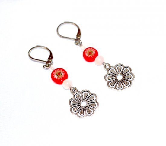 Handmade flower earrings, red millefiori coin bead, translucent white beads, flower charm
