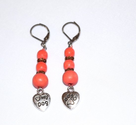 Handmade dog lover earrings, coral wood, brown flower rondelles, love my dog heart charm