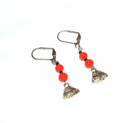Handmade car earrings, orange glass beads, car charm, black seed beads