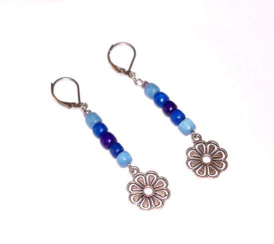 Handmade flower earrings, blue wood beads, flower drop charm