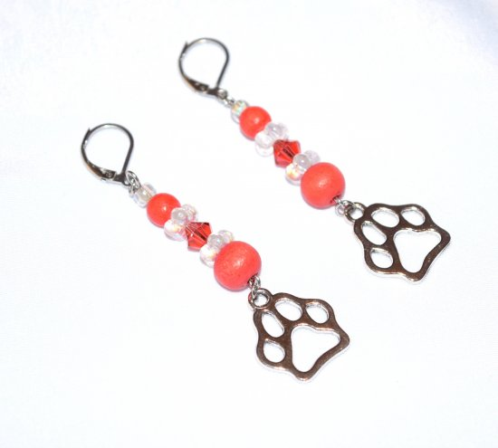 Handmade pawprint earrings, coral crystal and wood beads, crystal flower rondelles, pawprint charm