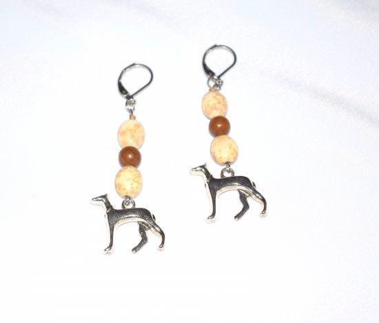 Handmade dog earrings, magnesite and tigerskin jasper beads, sight hound dog charm