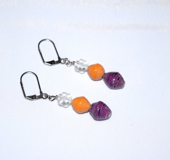 Handmade flower earrings, Czech glass flower, gold and purple paper beads
