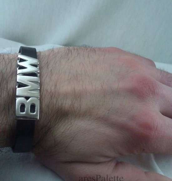 BMW Bracelet-925 Silver-Handmade BMW sign and lock system-Sterling silver and leather BMW bracelet