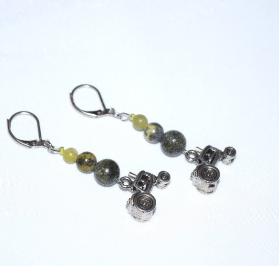SOLD Handmade green tractor earrings, serpentine beads, tractor charm