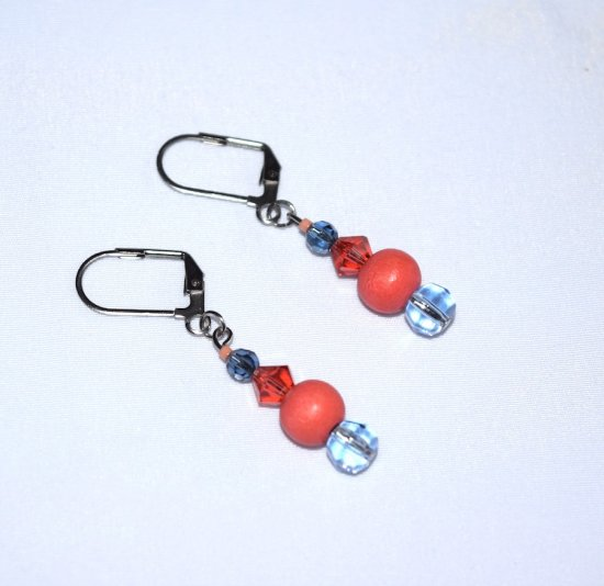 Handmade coral earrings, coral wood and crystal beads, and blue crystal beads