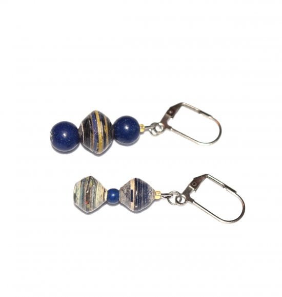 Handmade blue earrings, mismatched lapis blue resin beads, blue, tan and white rolled paper beads
