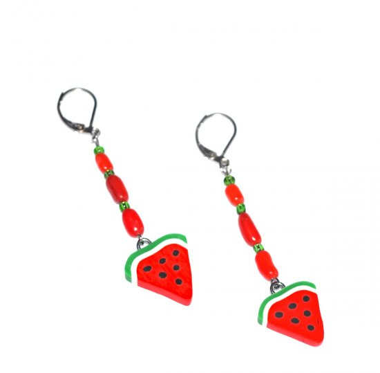 Handmade watermelon slice earrings, red coral branch beads, green seed beads, watermelon slice charm