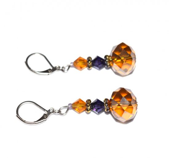 Handmade sparkling honey earrings, faceted honey and purple crystals, gold rainbow glass rondelles
