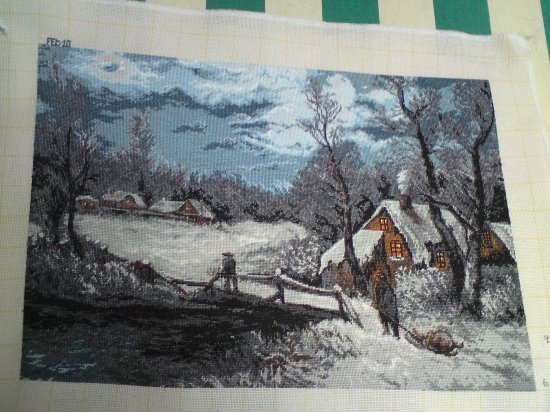 THIS IS A SNOW SCENE PICTURE is a beautiful completed Bulgarian Needlepoint Goblin picture Unframed