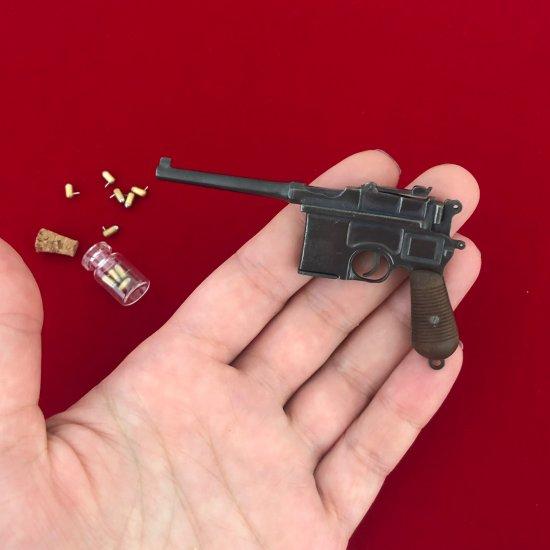 2mm pinfire gun Mauser C96 Black version with wood grips