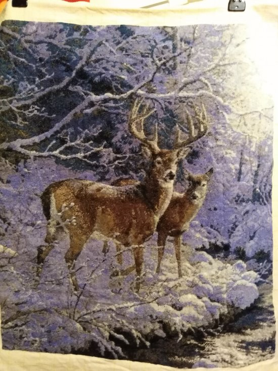 THIS  STAG and DOE PICTURE UNFRAMED   is a large beautiful finished Bulgarian goblen, Tapestry, embroidery, NeedlePoint