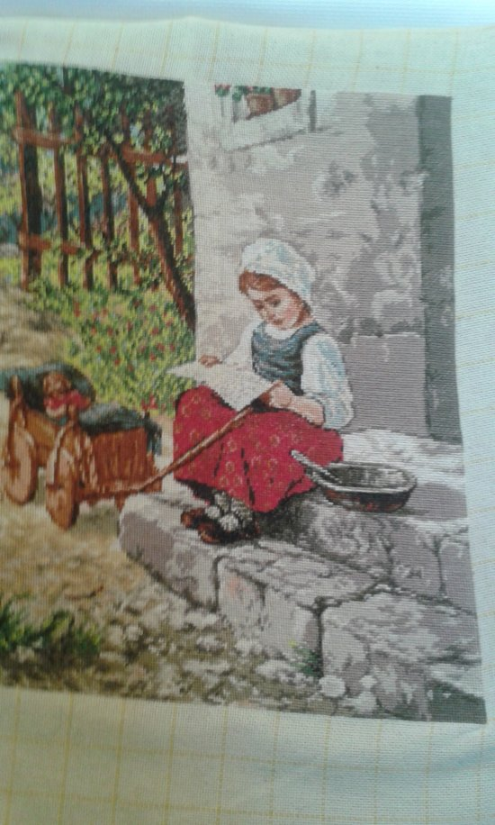 THIS LITTLE RUSSIAN GIRL SITTING on a DOORSTEP is  is a beautiful finished Bulgarian Goblin unframed