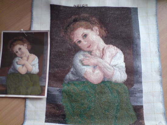 This LITTLE GIRL IN GREEN is a beautiful completed Bulgarian Needlepoint Goblin picture unframed