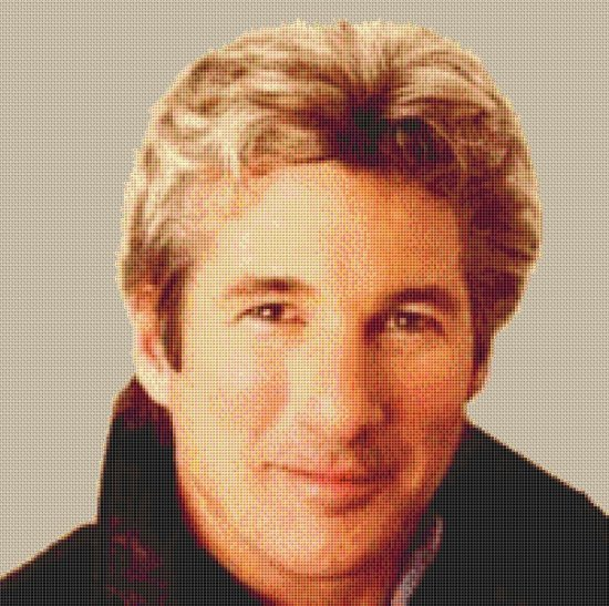 This is a 14 count cross stitch kit of RICHARD GERE Back ground un stitched