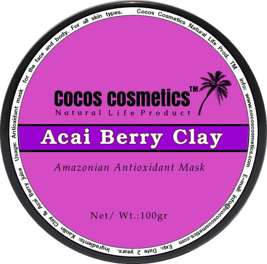 Acai berry Antioxidant mask, Clay detox mask, Anti aging mask, Clay facial mask, Organic Berry Mask for face