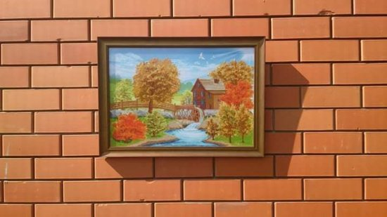 """The picture embroidered with a cross """"Water mill"""""""