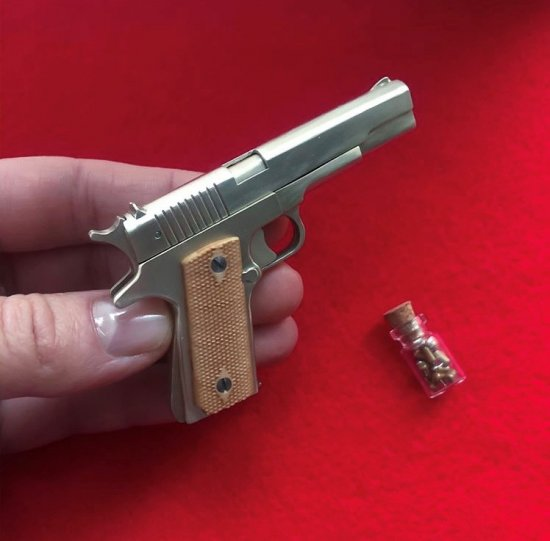 2mm pinfire gun Slide Colt 1911 White Metal Version
