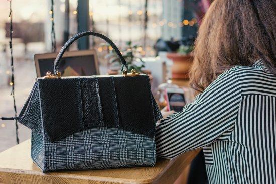 Gift for mom. Fish leather bag, Woman leather bag, Casual style bag, Water Resistant Bag, handmade bag. Black bag for woman