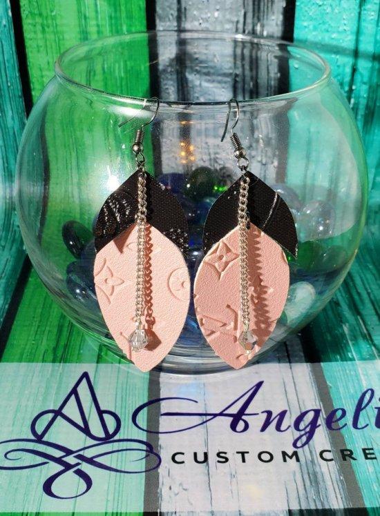 Black/Pink Louis Vuitton 2-Layer Earrings Czech Preciosa Bead