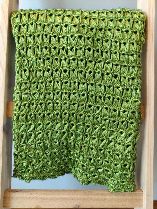 Shimmery Green Crochet Blanket