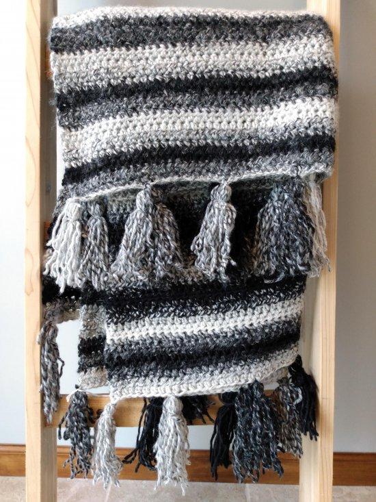 Black and white crochet blanket