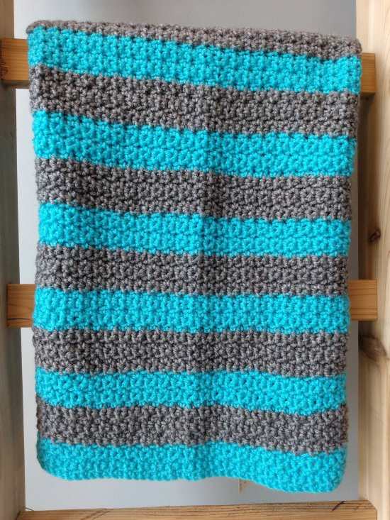 Blue and Gray Crochet Blanket