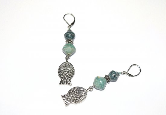 Fish earrings with green rolled paper beads and fish charm