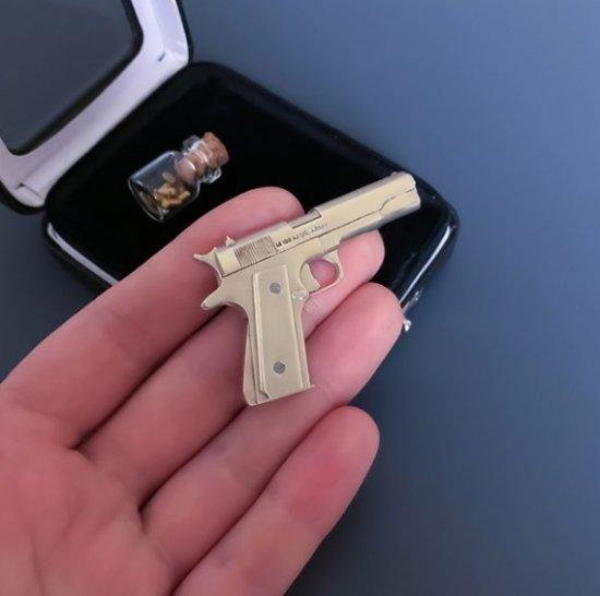 2mm pinfire gun Colt 1911 Scale 1:4