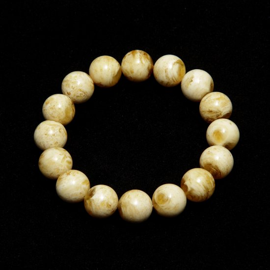 Bracelet From Natural Baltic Amber Of Milk - Honey Color Round Shape Pretty Design Beads 10 mm