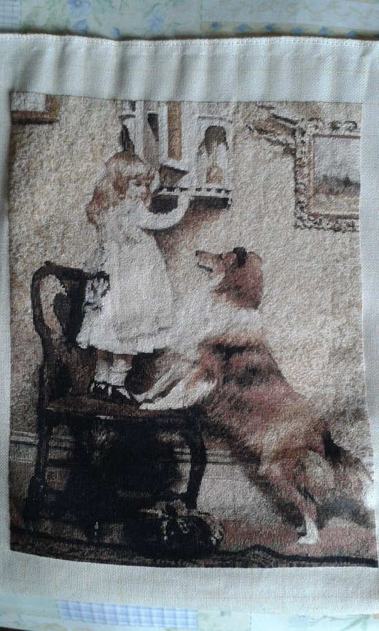 THIS is a  BEAUTIFUL LITTLE GIRL & DOG PICTURE is a beautiful finished Bulgarian goblin unframed