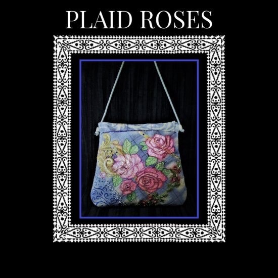 Plaid Roses Handcrafted hand painted Silk