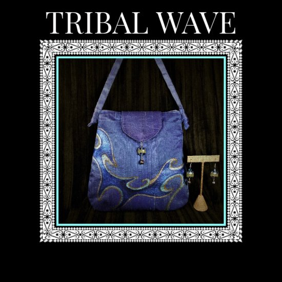 Tribal Wave Silk Handcrafted hand painted