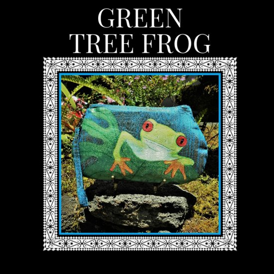 Green Tree Frog Silk handcrafted hand painted