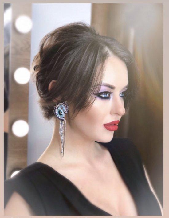 Soutache earrings and rhinestone chains, handmade earrings, rhinestone earrings, Swarovski crystals