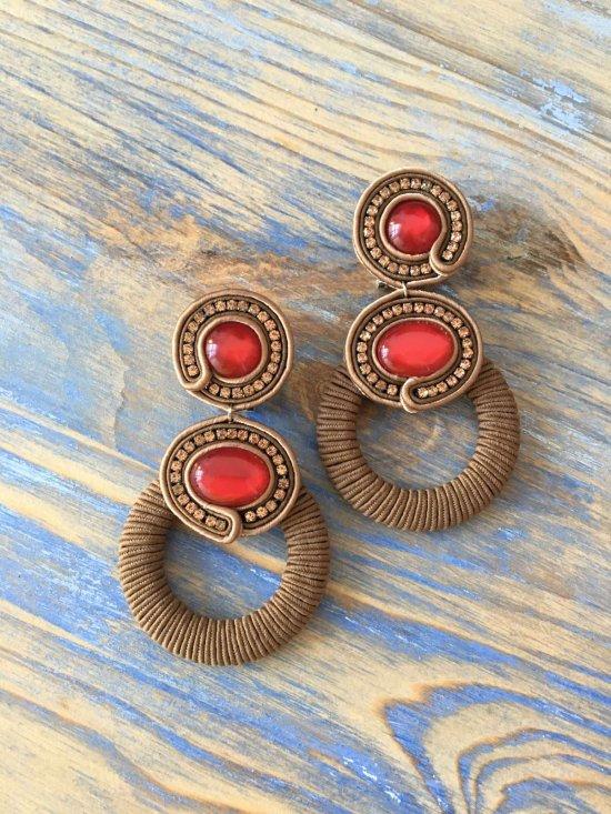 Soutache earrings ring earrings,  handmade earrings, rhinestone earrings