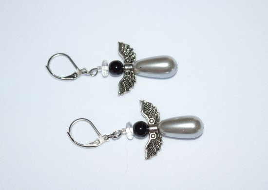 Angel earrings with antiqued silver wings, silver glass pearl teardrop and black onyx