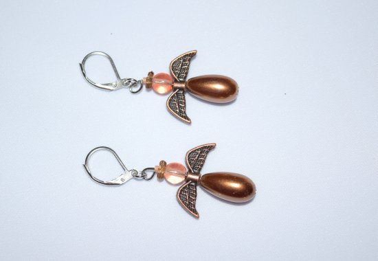 Copper angel earrings, antiqued copper angel wings with copper glass pearl, translucent peach brown and brown glass bead