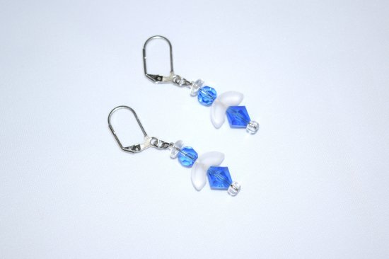 Angel earrings with Czech blue crystal and white pressed glass beads