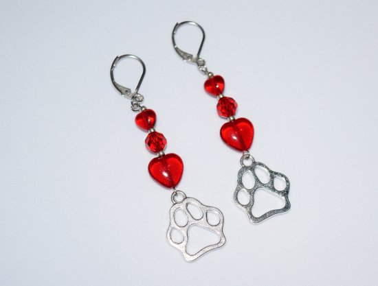 Pawprint earrings with sparkling red heart and crystal beads