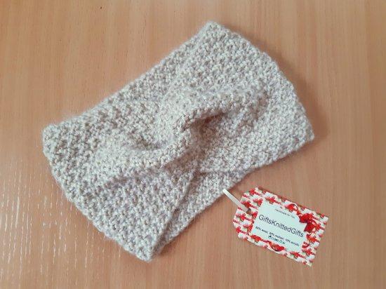 Knit women headband, hand knit headband, knitted headband, beige headband, wool hair wrap, winter knit ear warmer