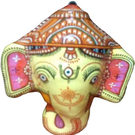 Papier Mache Mask of Lord Ganesha (Yellow)