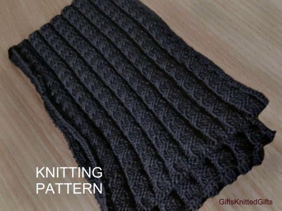 KNITTING PATTERN Scarf, Beginner Knit Scarf Pattern, Hand Knit Scarf, Hand Knit Scarf for Man, Knitted Scarf