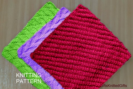 KNITTING PATTERN Dishcloths in 3 designs, Knitted Dishcloth Pattern, Beginner Knit Pattern, Knitted Decor Kitchen