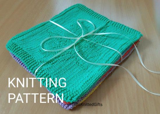 KNITTING PATTERN Dishcloths in 5 designs, Knitted Dishcloth Pattern, Beginner Knit Pattern, Knitted Decor Kitchen